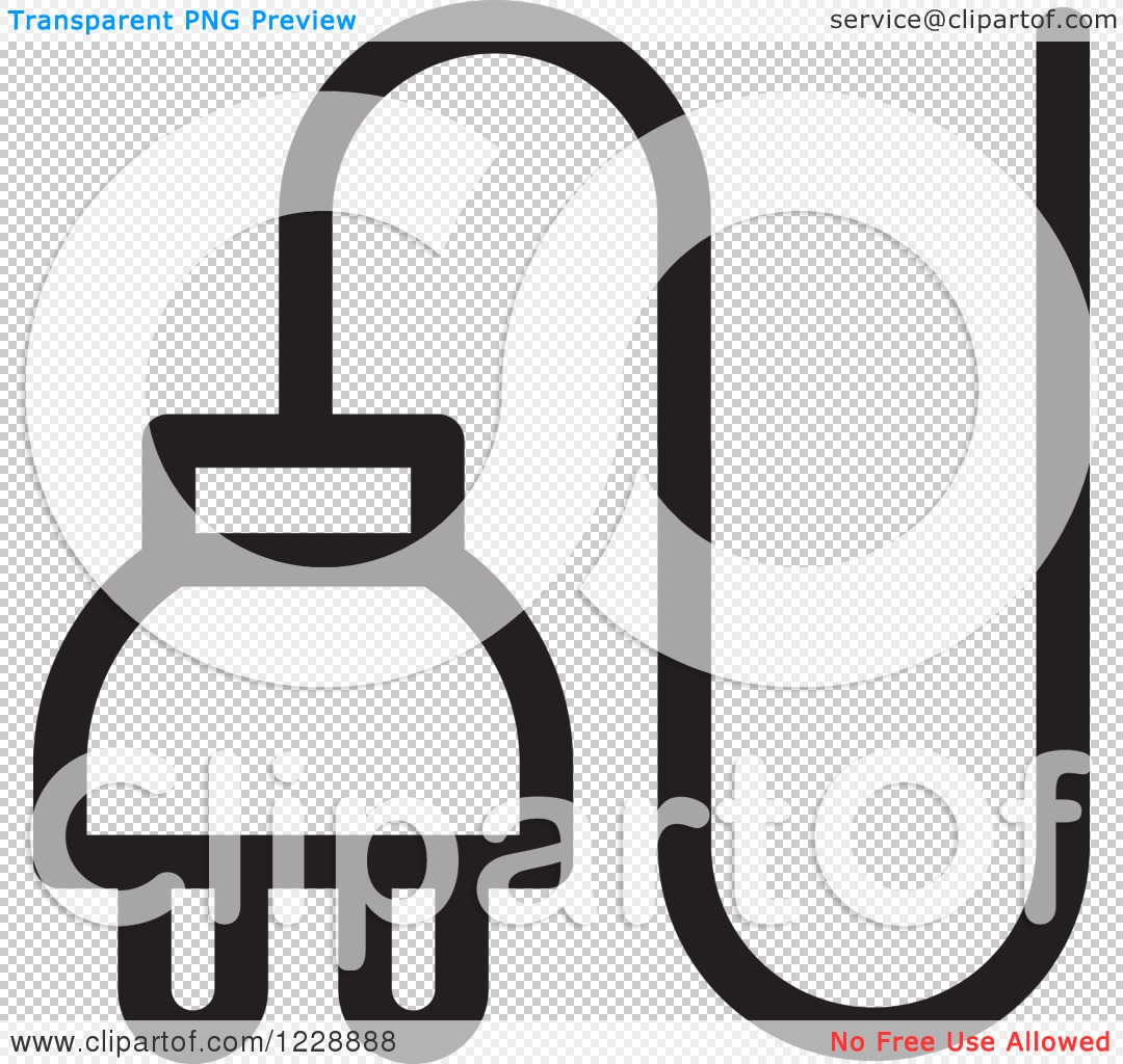 Clipart of a Black and White Electrical Plug Icon - Royalty Free ...