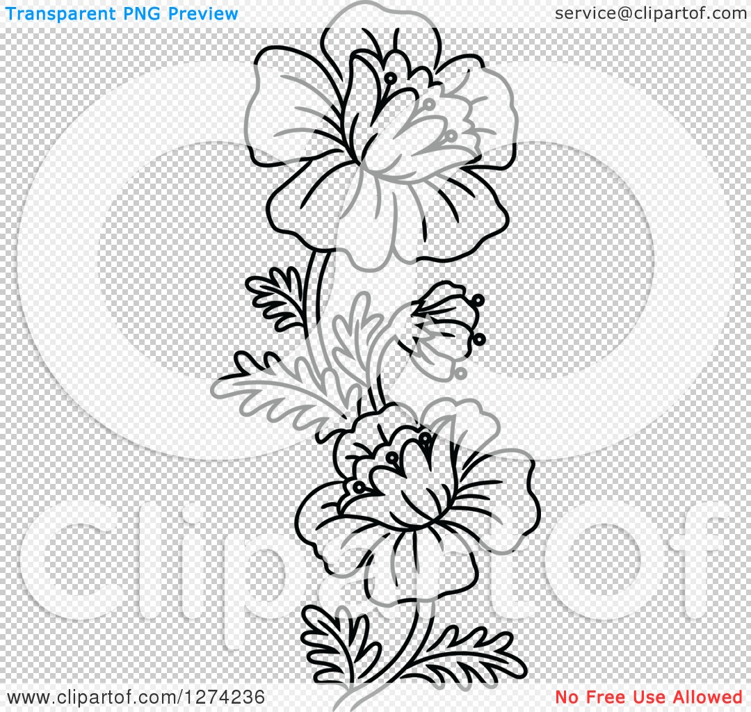 Clipart Of A Black And White Flower Design Royalty Free Vector