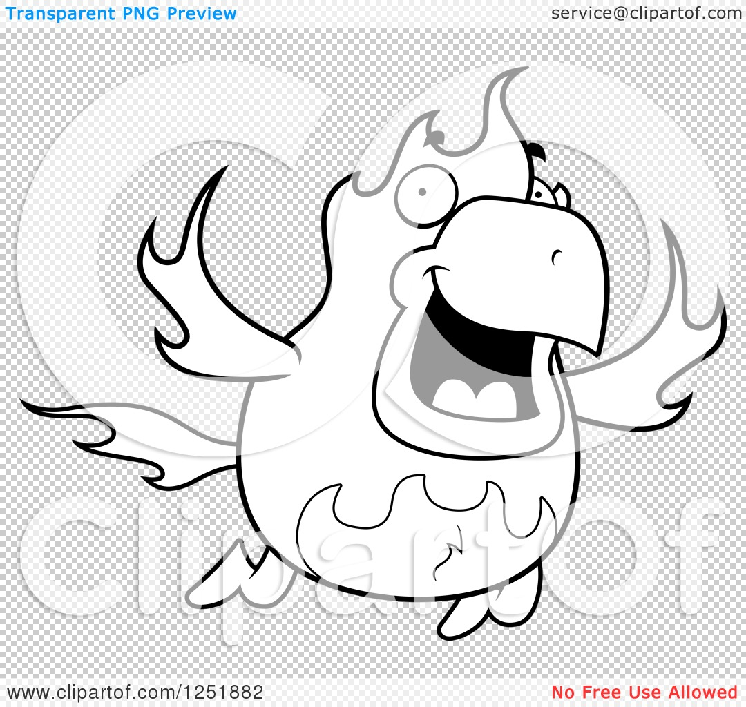 Clipart of a Black and White Flying Fire Bird Phoenix - Royalty ...