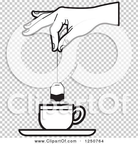 Clipart of a Black and White Hand Dipping a Tea Bag into a Cup ...