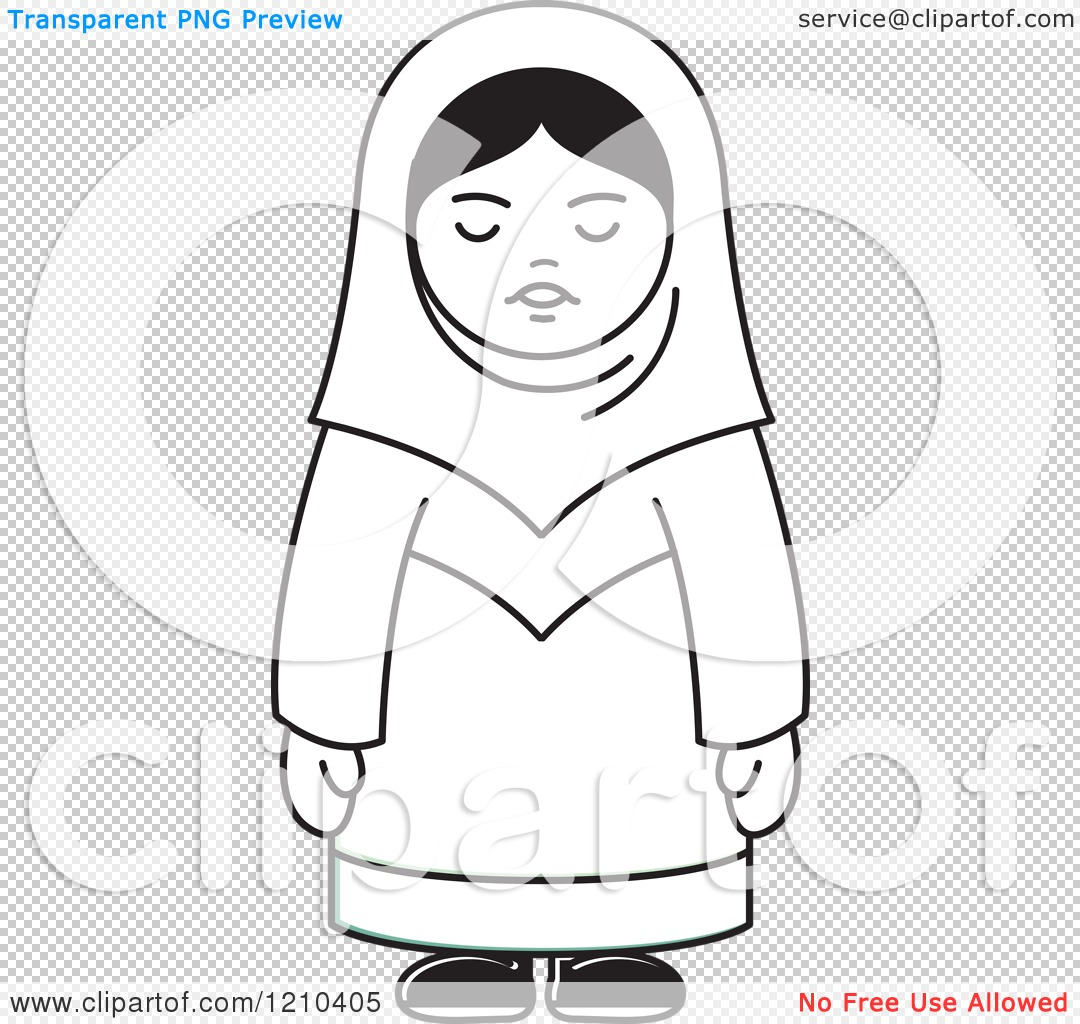 Clipart Of A Black And White Happy Arabic Woman Royalty