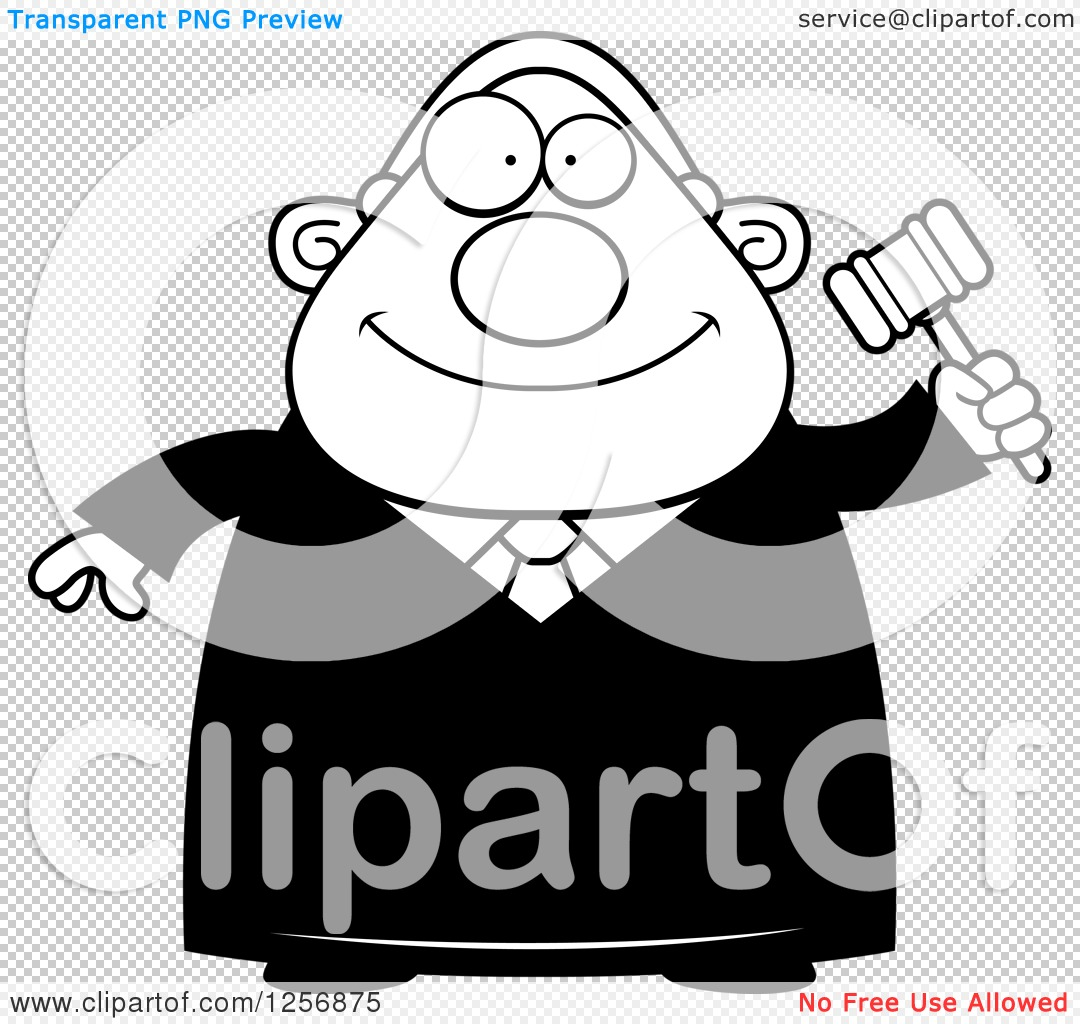 Clipart of a Black and White Happy Chubby Male Judge ...
