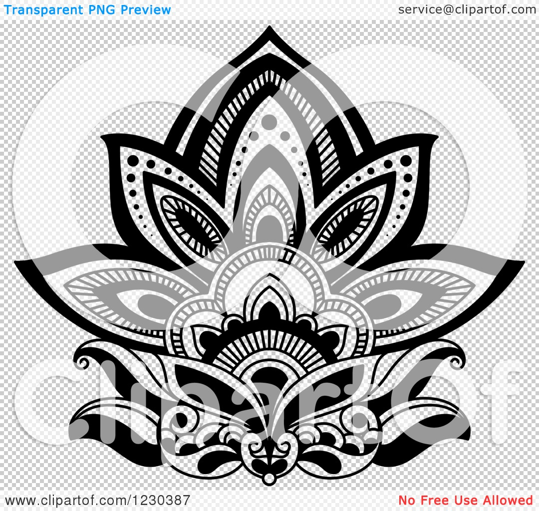 Clipart Of A Black And White Henna Lotus Flower 3