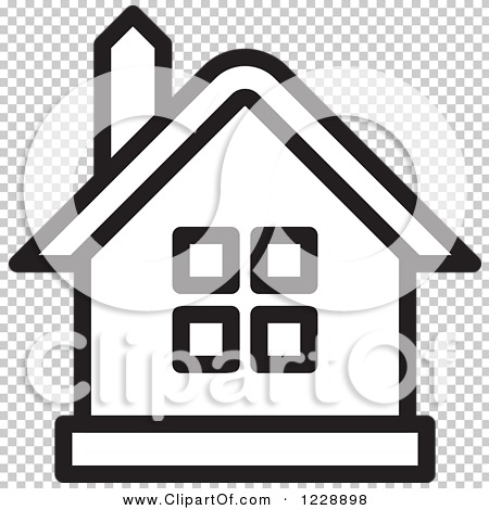Clipart of a Black and White House Icon - Royalty Free Vector ...