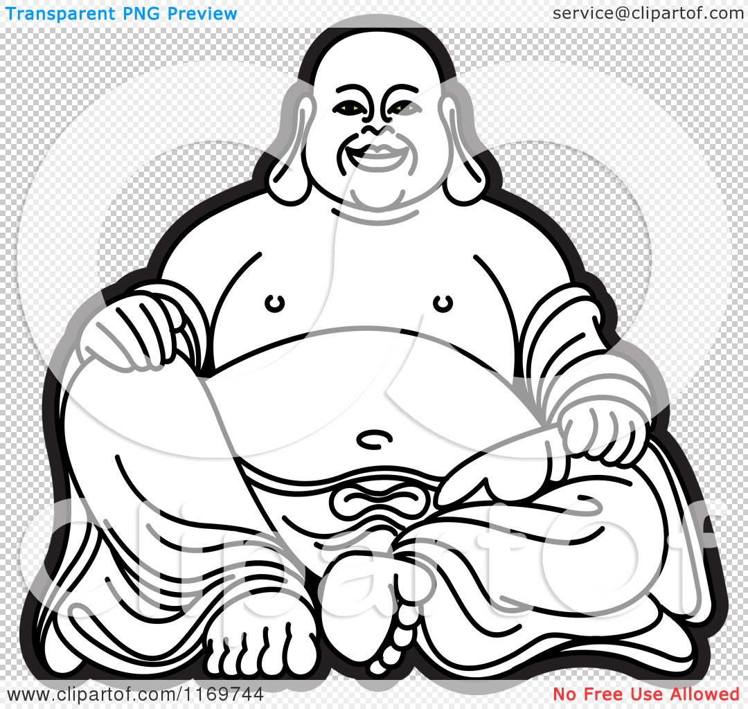 clipart of a black and white laughing buddha 2 royalty free