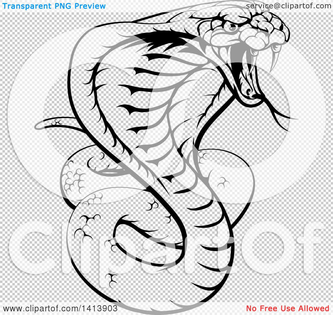 Clipart of a Black and White Lineart Angry King Cobra ...