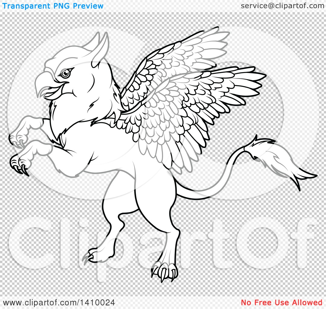 clipart of a black and white lineart cute griffin mythical