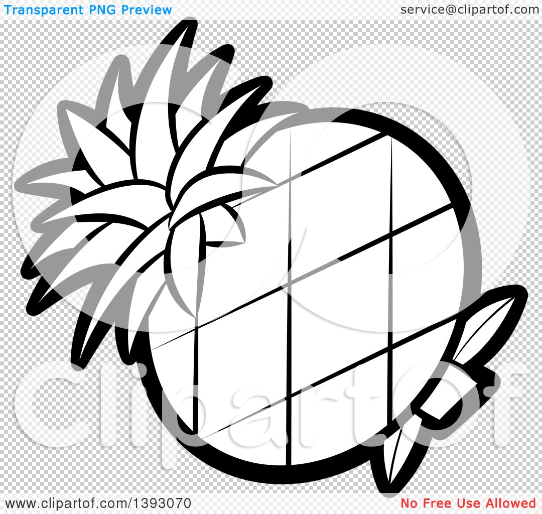 Clipart of a Black and White Lineart Pineapple - Royalty Free ... for Clipart Pineapple Black And White  585eri