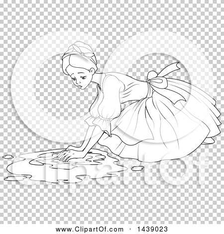 Clipart of a Black and White Lineart Scene of Cinderella As a Maid ...
