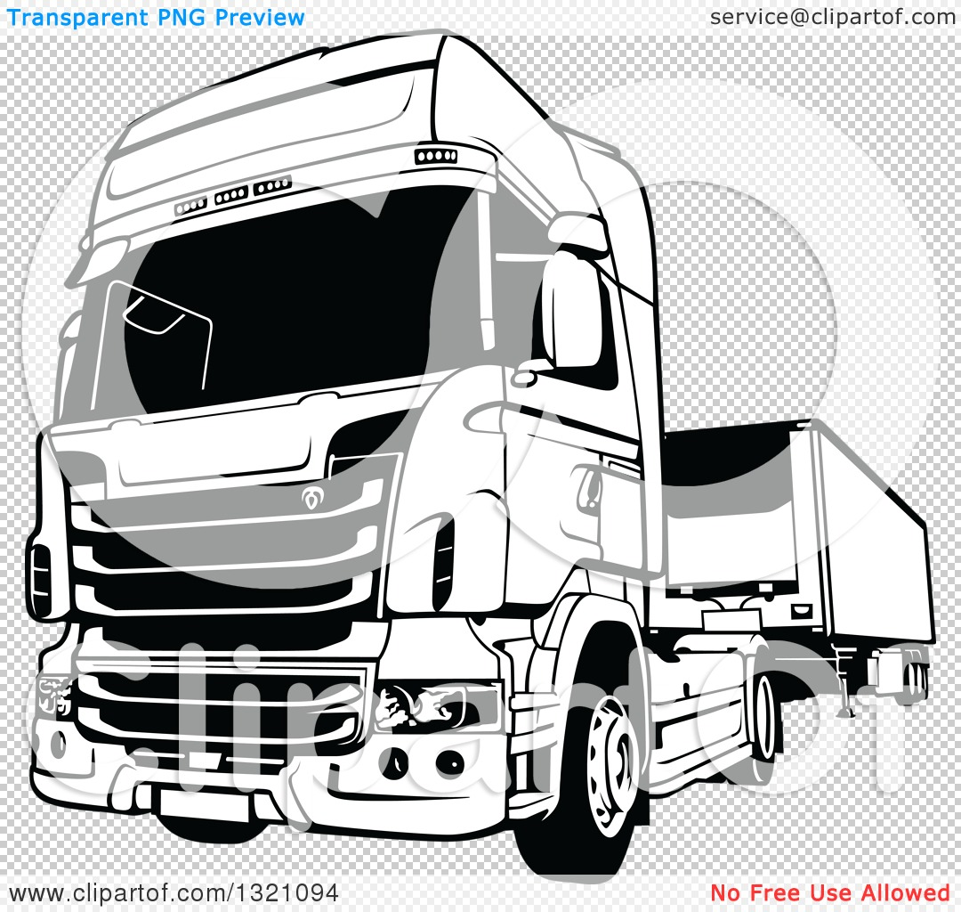 Clipart Of A Black And White Lorry Big Rig Truck Royalty