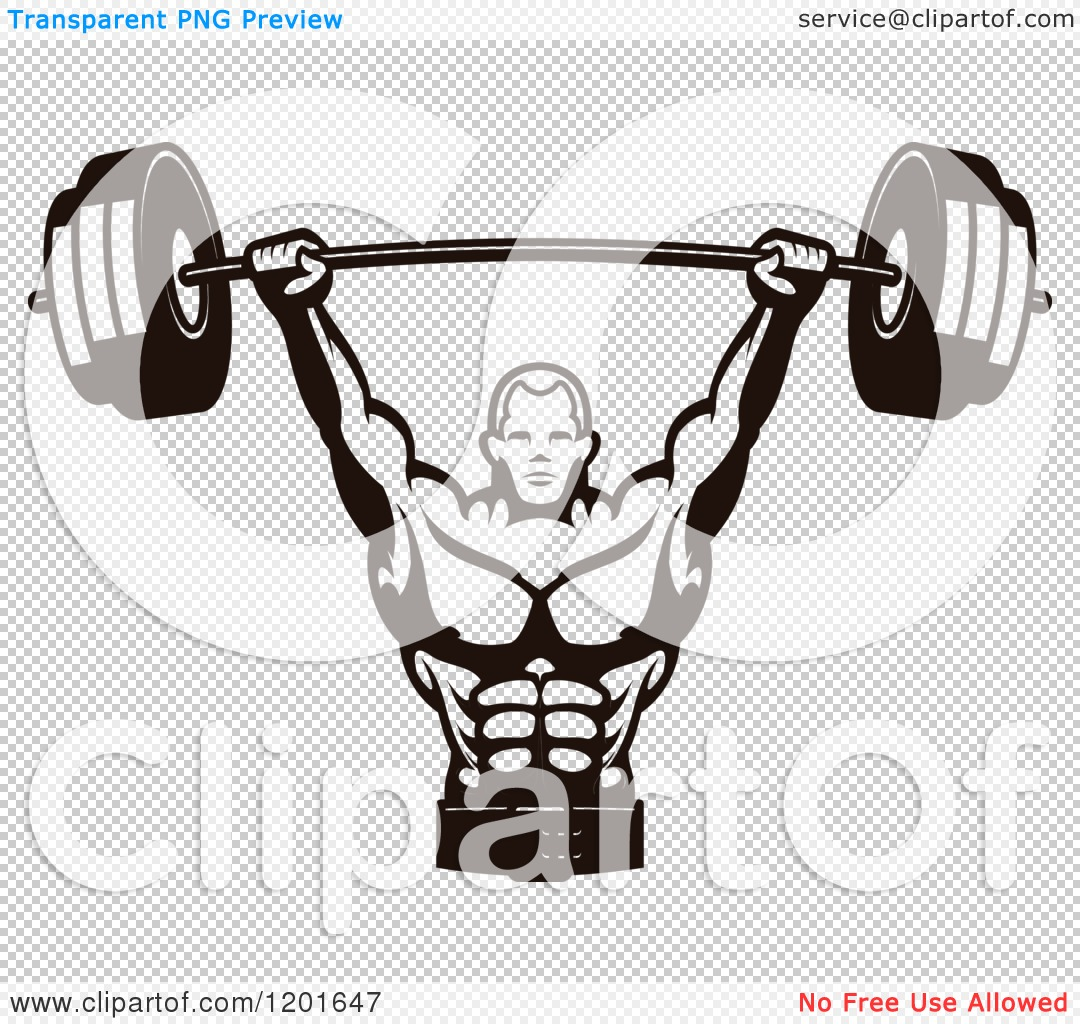 Clipart of a Black and White Male Bodybuilder Lifting a ...