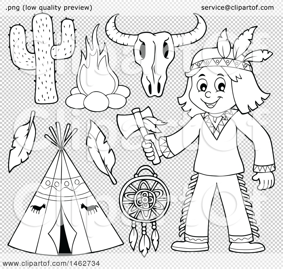 Clipart Of A Black And White Native American Boy Holding