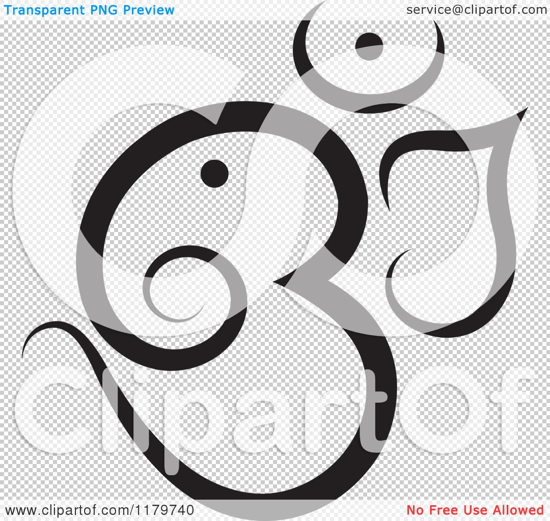 Clipart of a black and white om or aum hinduism symbol royalty png file has a transparent background buycottarizona