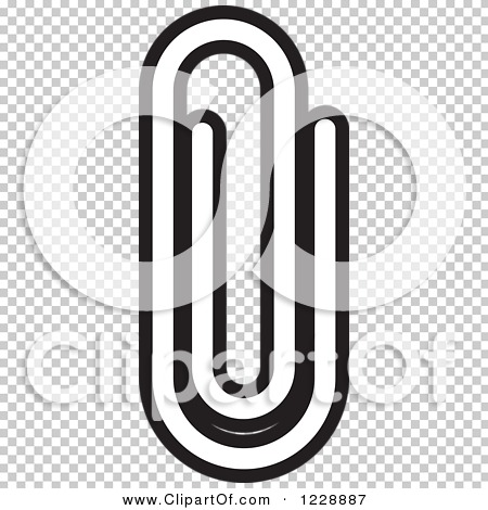 Clipart of a Black and White Paperclip Attachment Icon ...