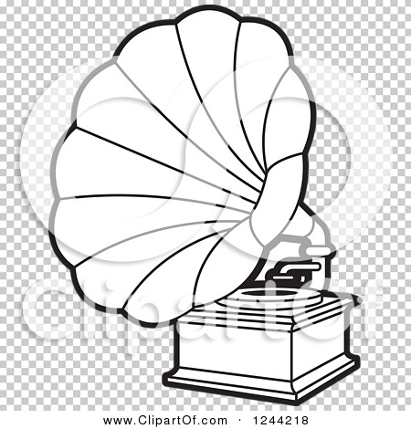 Clipart of a Black and White Phonograph Gramophone 4 - Royalty ...