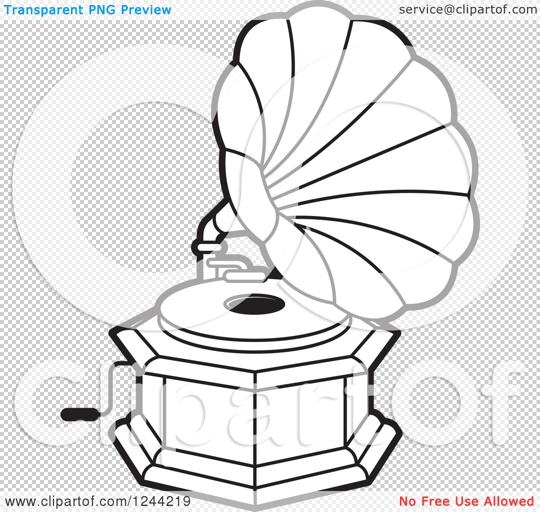 Clipart Of A Black And White Phonograph Gramophone 5