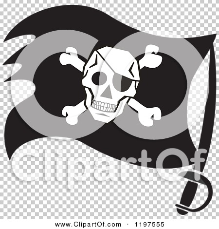 Clipart of a Black and White Pirate Flag on a Sword - Royalty Free ...