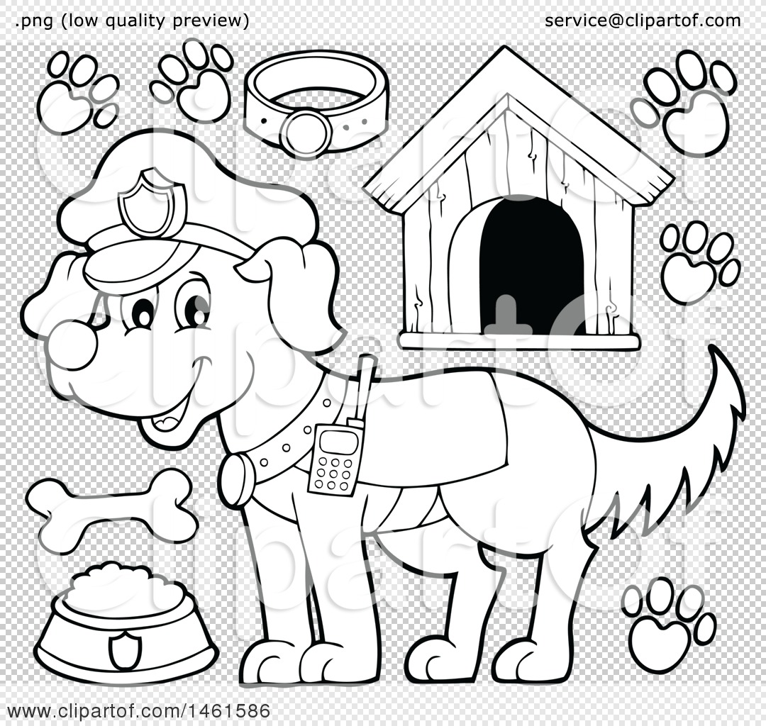 Clipart Of A Black And White Police Dog And Accessories