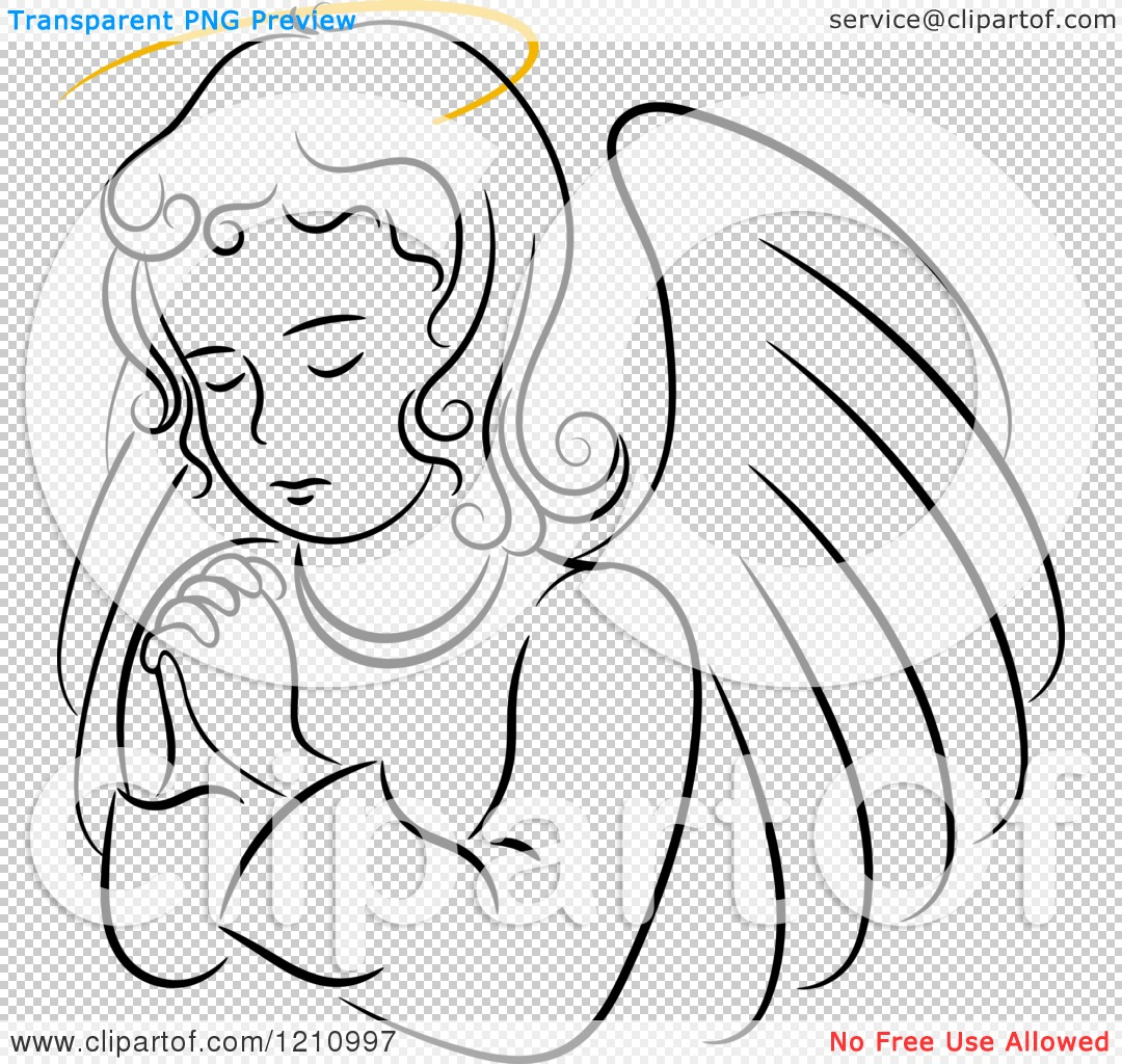 Clipart of a Black and White Praying Angel Girl with a Golden Halo ...