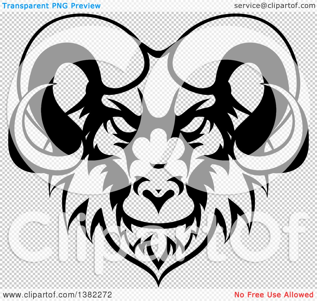 Clipart of a Black and White Ram Head Mascot - Royalty Free Vector ...