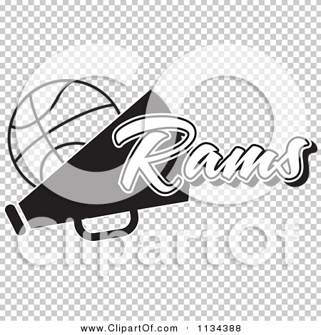 Clipart Of A Black And White Rams Basketball Cheerleader ...