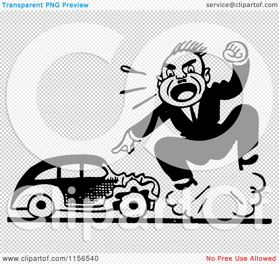Clipart of a Black and White Retro Man Screaming by a Wrecked a ...