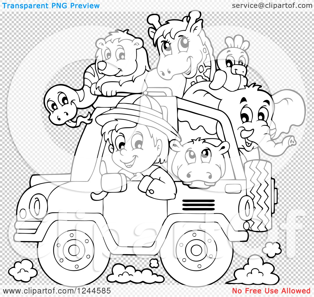 Safari Animals Coloring Pages: Clipart Of A Black And White Safari Boy Driving A Jeep