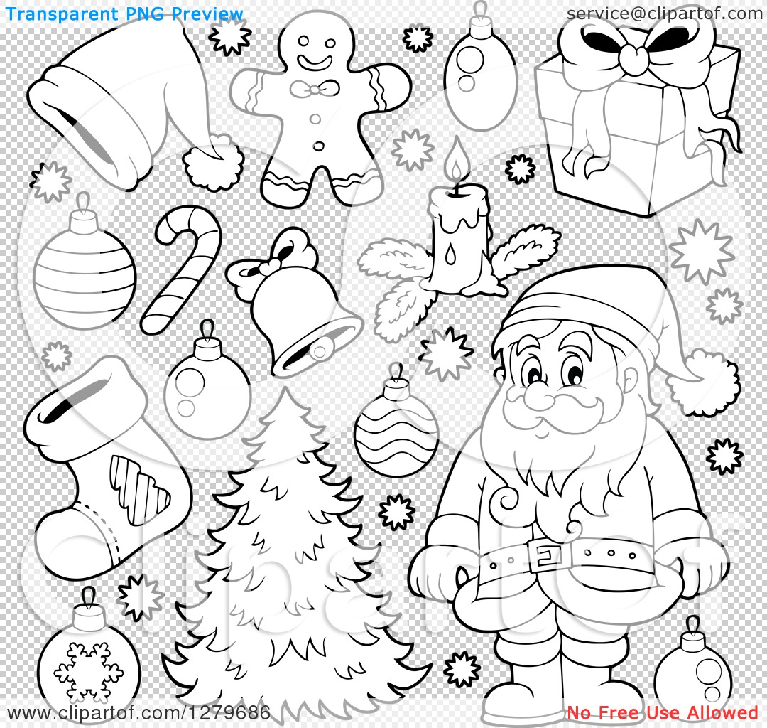 Clipart of a Black and White Santa Claus, a Christmas Tree, and Decorations - Royalty Free ...