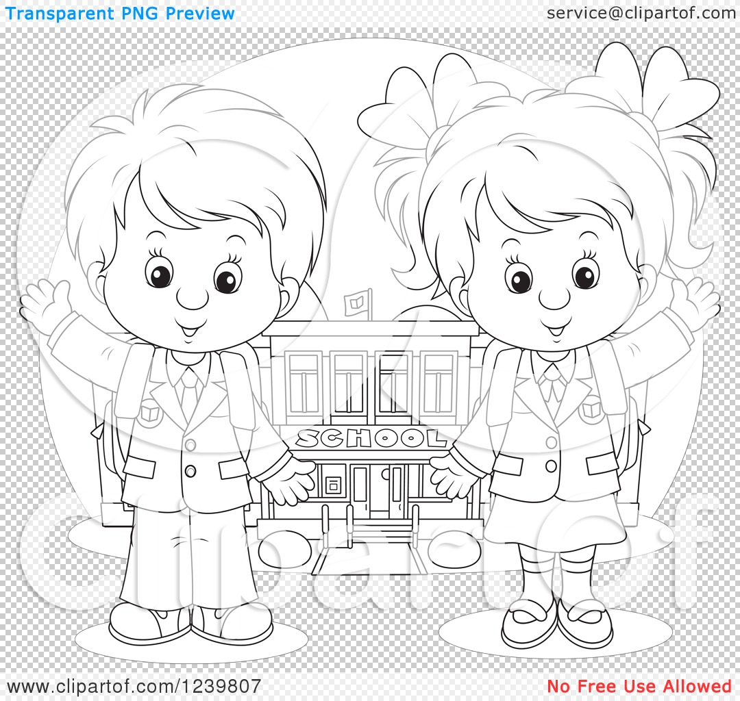 Clipart Of A Black And White School Boy And Girl Waving By A