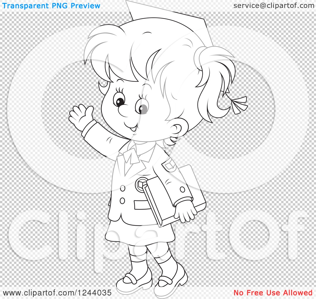 Clipart Of A Black And White School Girl Wearing A Graduation Cap