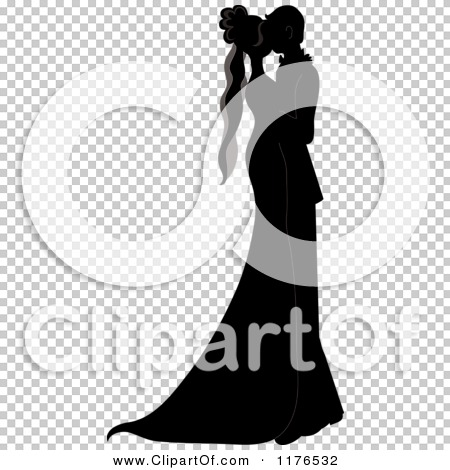 Clipart Of A Black And White Silhouetted Wedding Couple Dancing Closely Royalty Free Vector Illustration