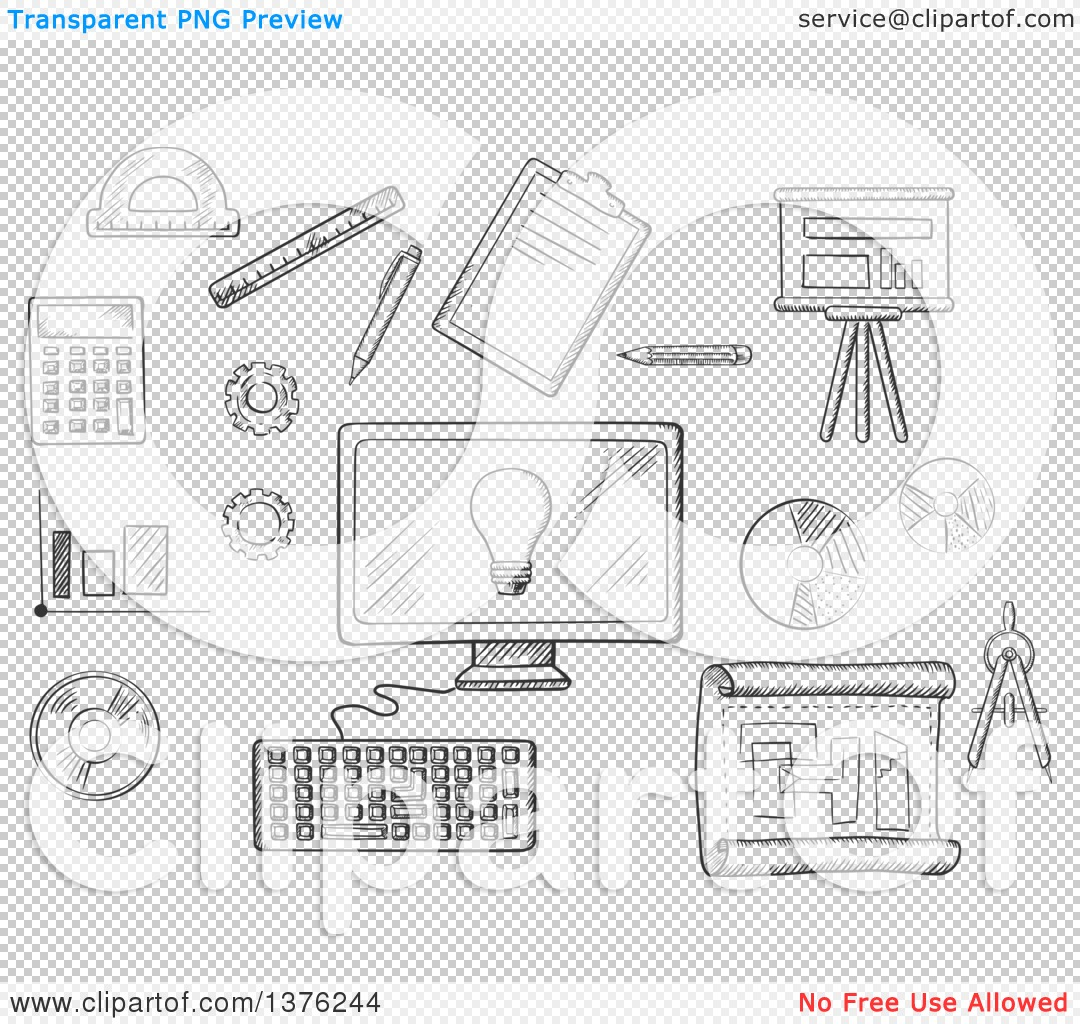 Computer web blueprint icon vector court dimensions of volleyball clipart of a black and white sketched desktop computer surrounded clipart of a black and white sketched desktop computer surrounded by icons of board malvernweather Image collections