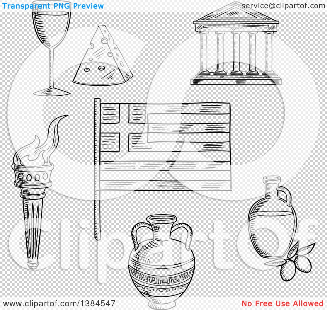 clipart of a black and white sketched greek flag parthenon temple