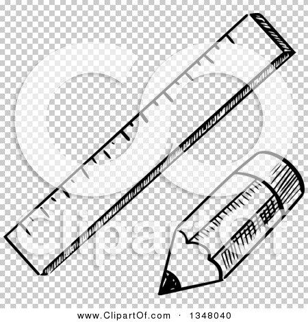 Clipart of a Black and White Sketched Pencil and Ruler ...