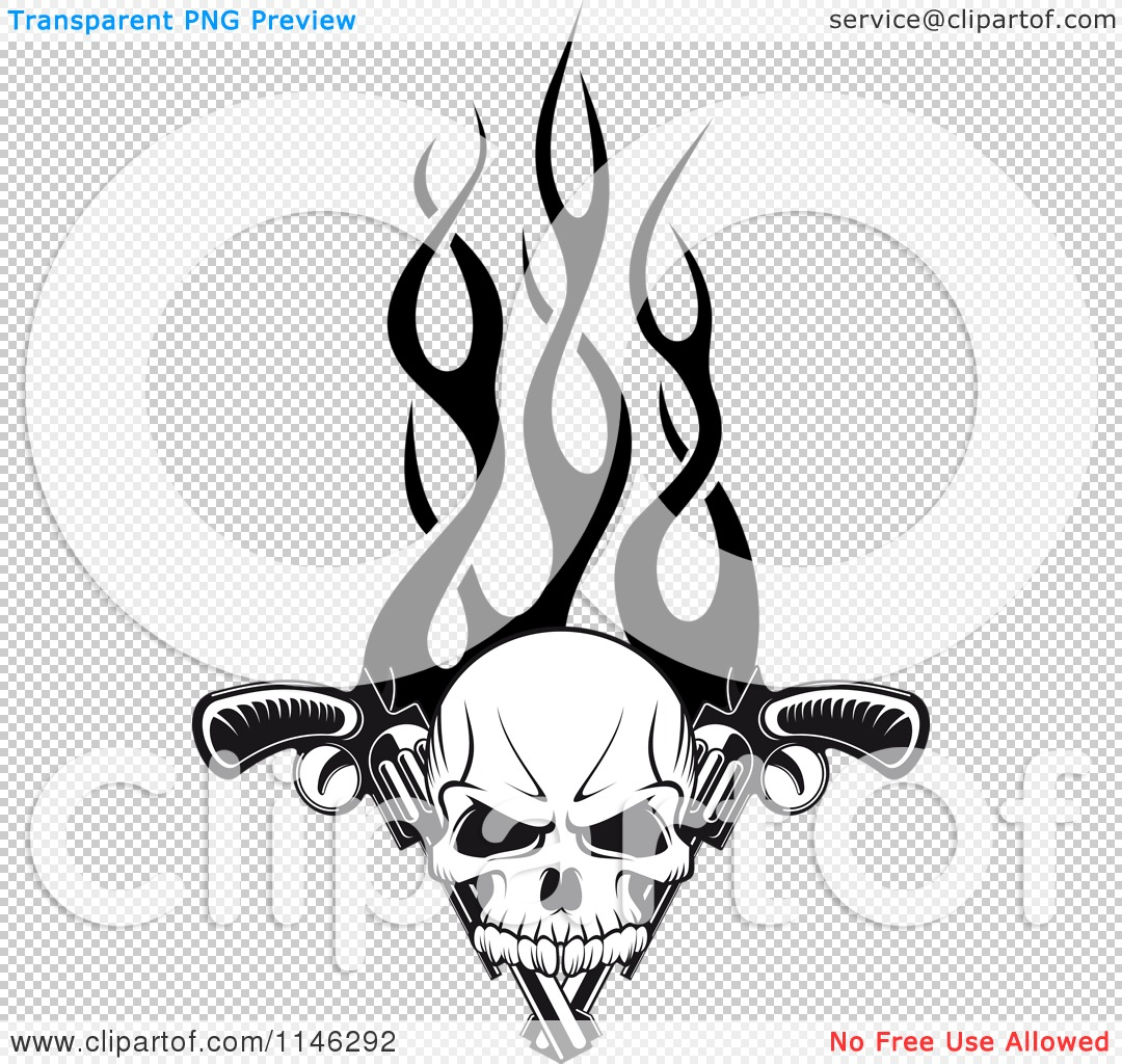 Clipart of a Black and White Skull over Pistols and Flames - Royalty ...