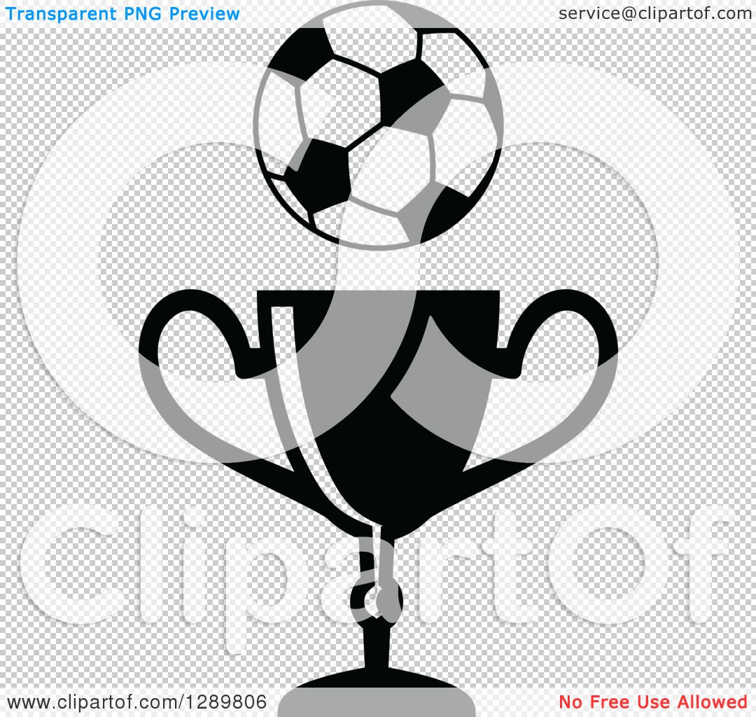 clipart of a black and white soccer ball over a championship