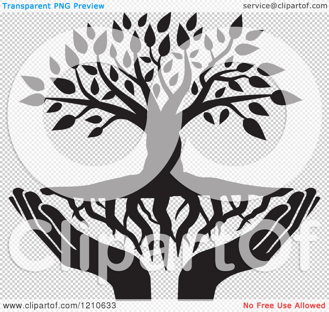 clipart of a black and white tree with roots and uplifted Christian Worship Clip Art Church Service Clip Art