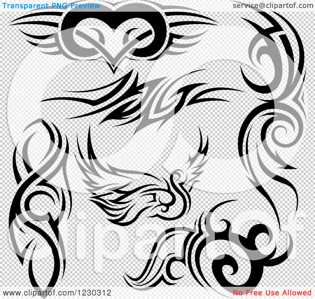 ... Heart, Swan, and Tattoo Designs - Royalty Free Vector Illustration