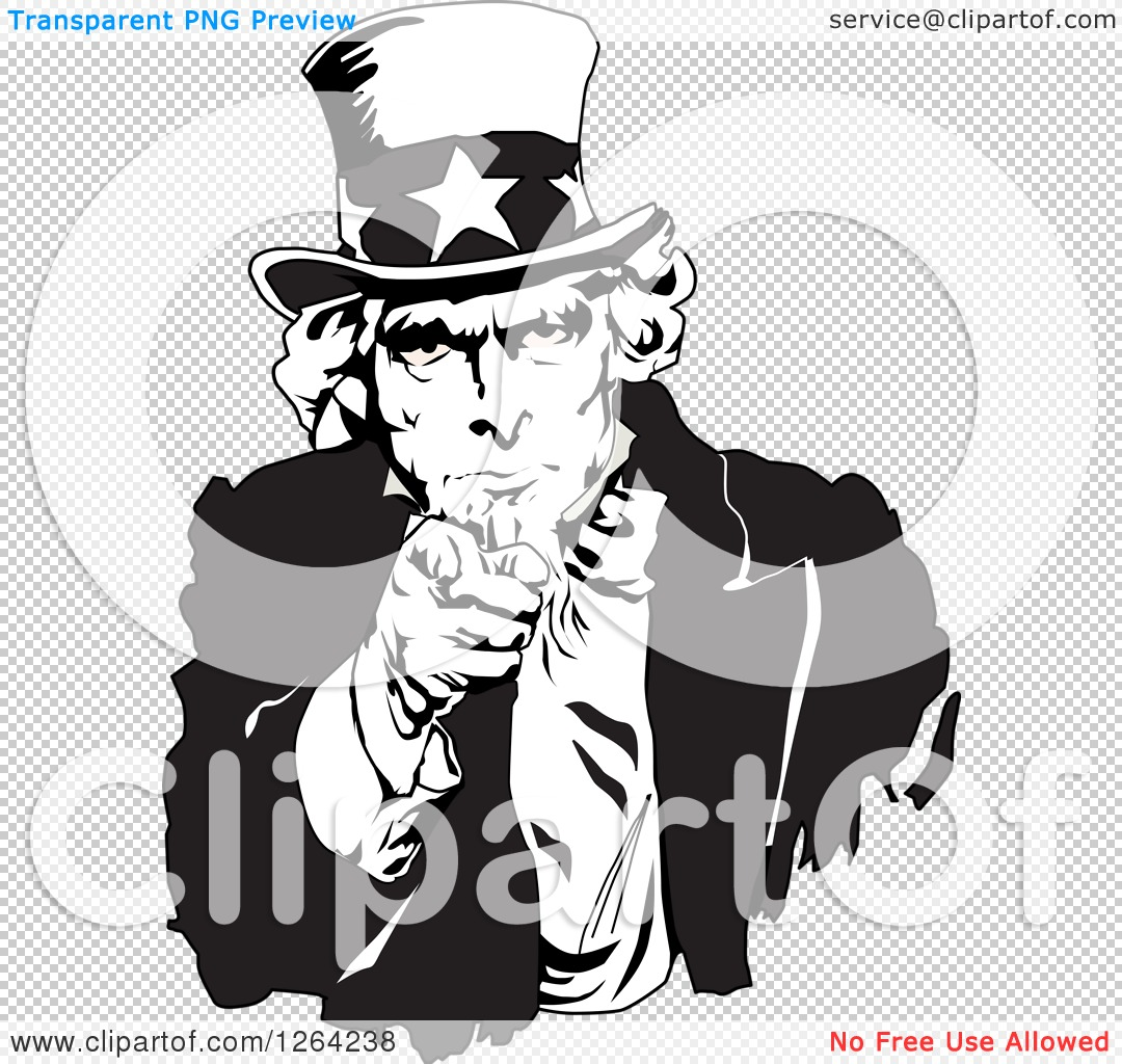 Uncle Sam Clipart Black And White Clipart of a Black And White