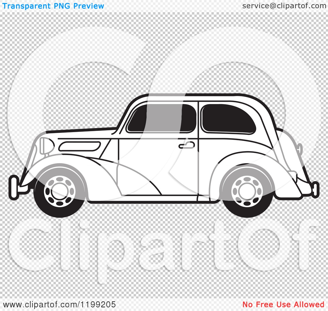 clipart of a black and white vintage ford car with tinted