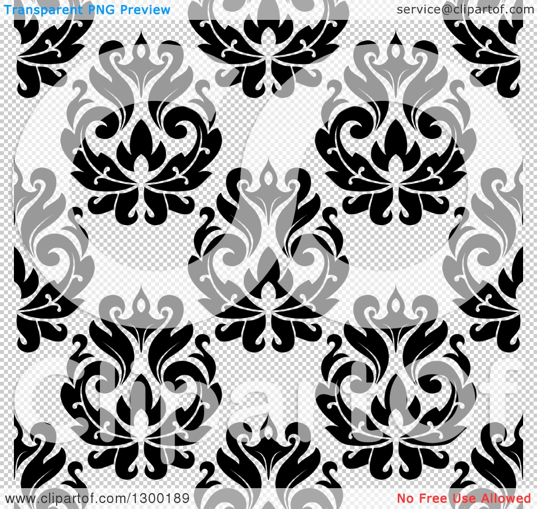 Black Flower On White Background Royalty Free Stock: Clipart Of A Black And White Vintage Seamless Floral