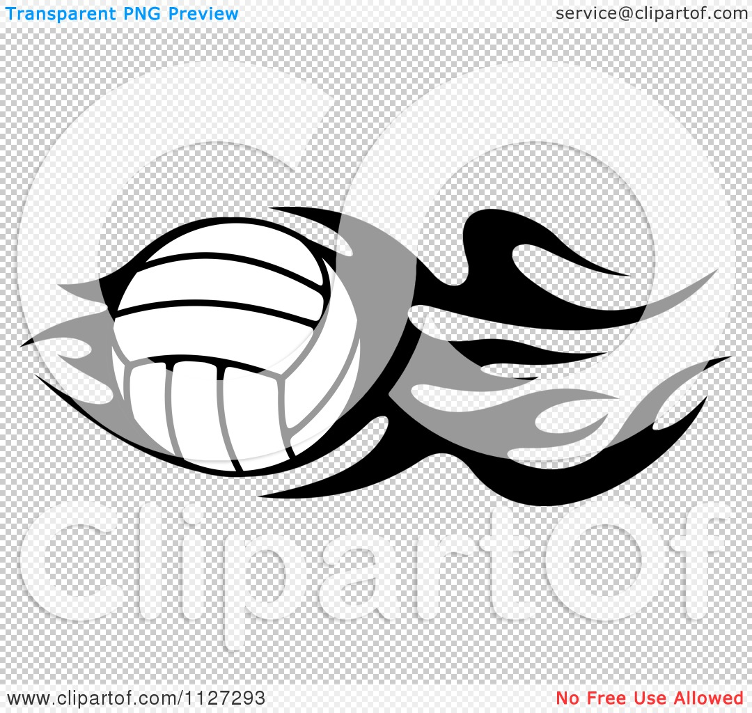 Clipart Of A Black And White Volleyball With Tribal Flames 4 ...