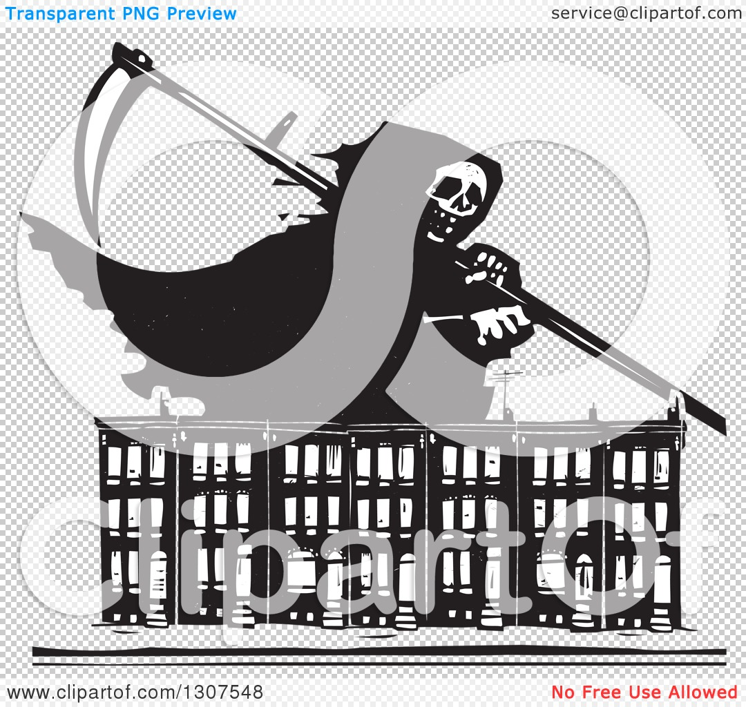 Clipart of a black and white woodcut grim reaper over baltimore png file has a sciox Images