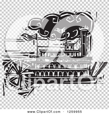 Clipart of a Black and White Woodcut Steamboat - Royalty Free ...