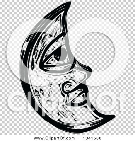 Clipart of a Black and White Woodcut Styled Crescent Moon Face ...