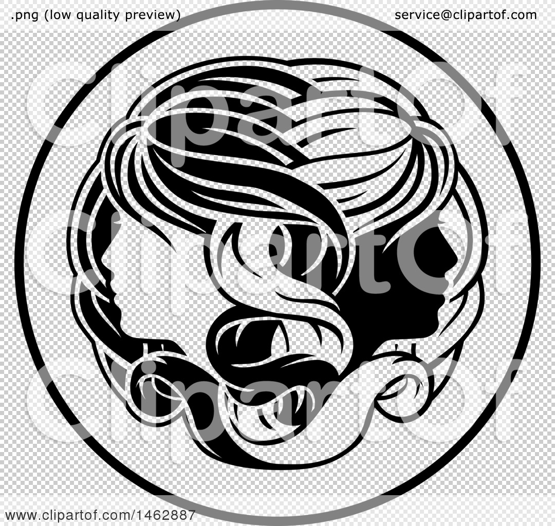 Clipart of a black and white zodiac horoscope astrology gemini png file has a biocorpaavc Images