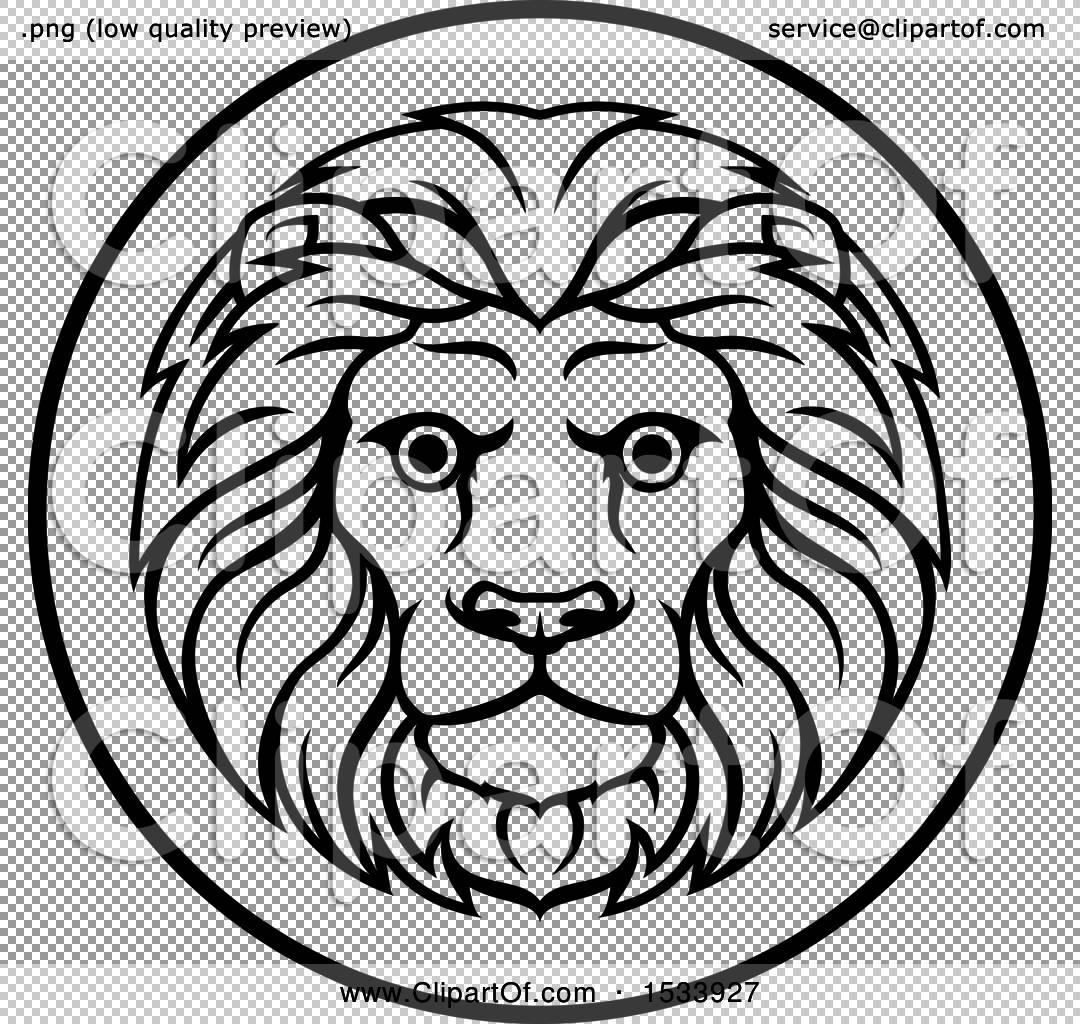Clipart Of A Black And White Zodiac Horoscope Astrology Leo