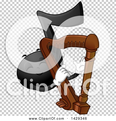 Clipart of a Black Music Note Mascot Playing a Harp