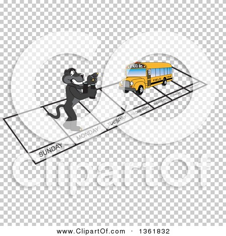 Clipart of a Black Panther School Mascot Character and Bus over ...