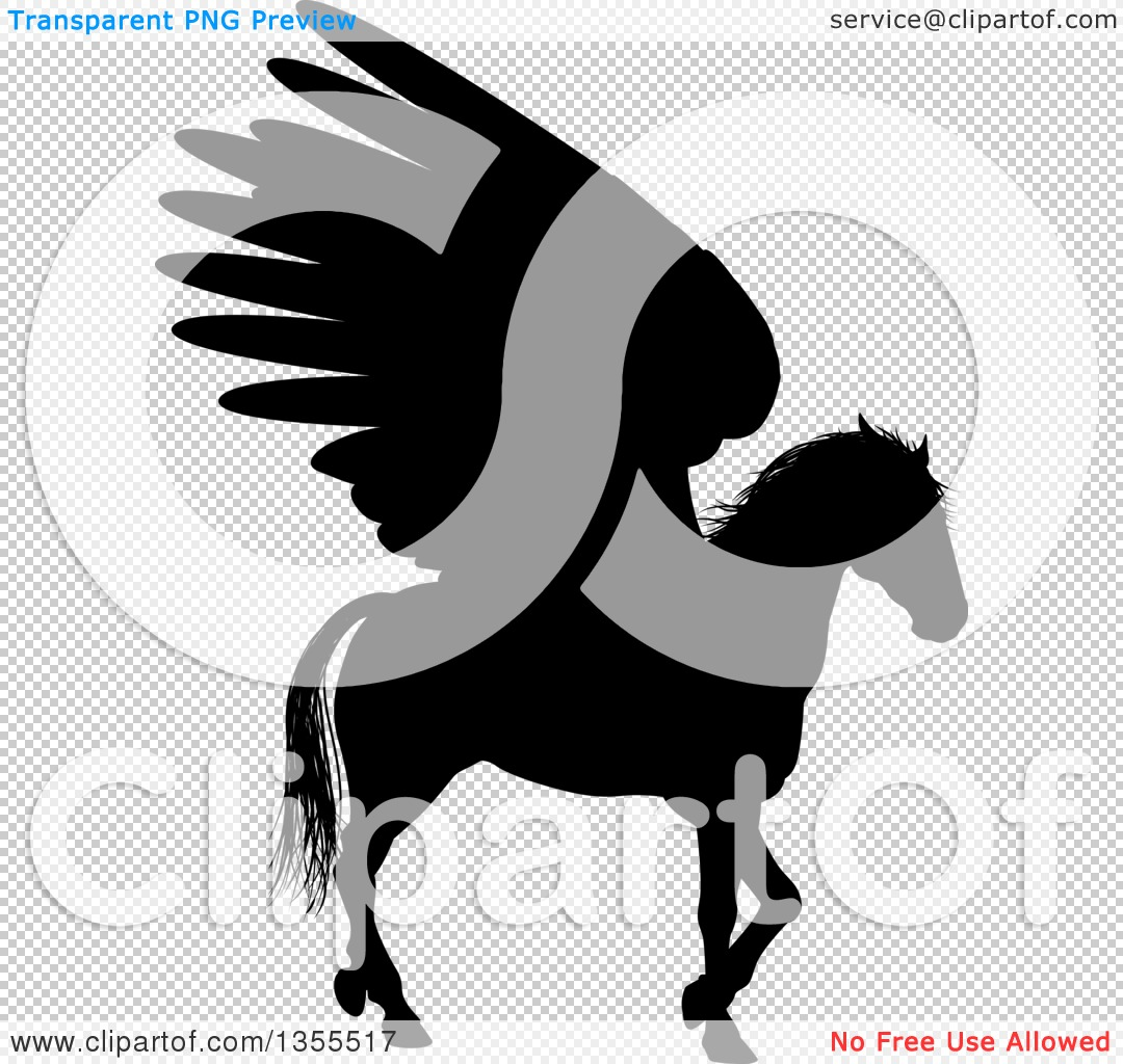 Clipart of a Black Silhouette of a Walking Winged Pegasus Horse ...